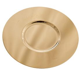 Paten in golden brass with shaped bottom, 15 cm s2