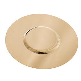 Paten in golden brass with shaped bottom, 15 cm s3