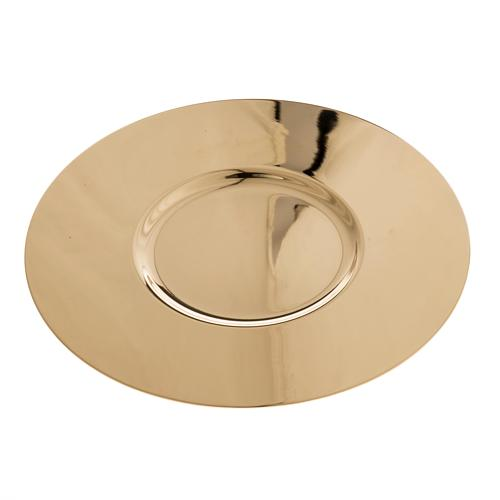 Paten in golden brass with shaped bottom, 15 cm 1