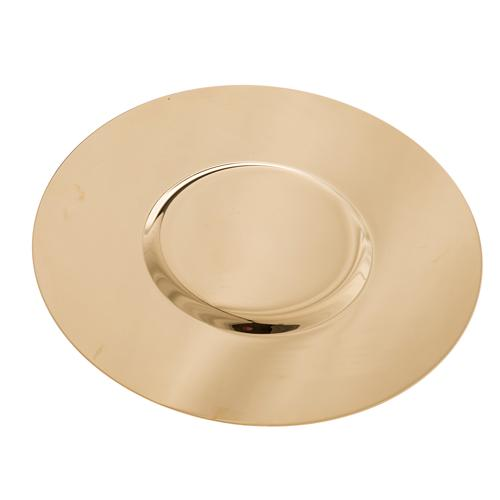 Paten in golden brass with shaped bottom, 15 cm 3