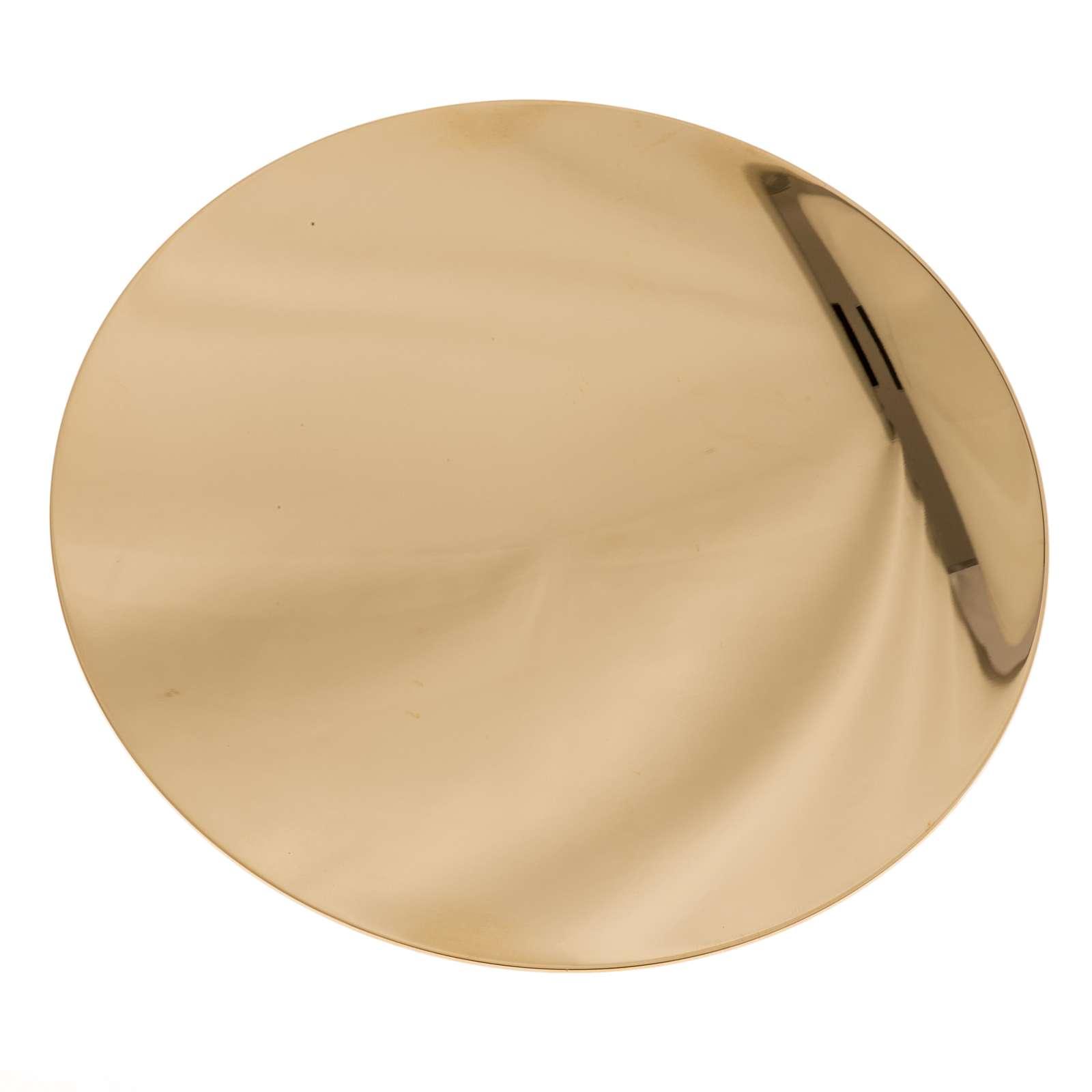 Paten in golden brass, smooth 15 cm 4
