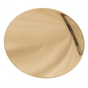 Paten in golden brass, smooth 15 cm s2