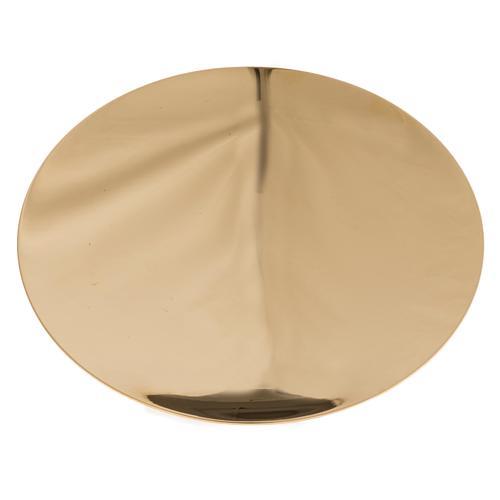 Paten in golden brass, smooth 15 cm 1