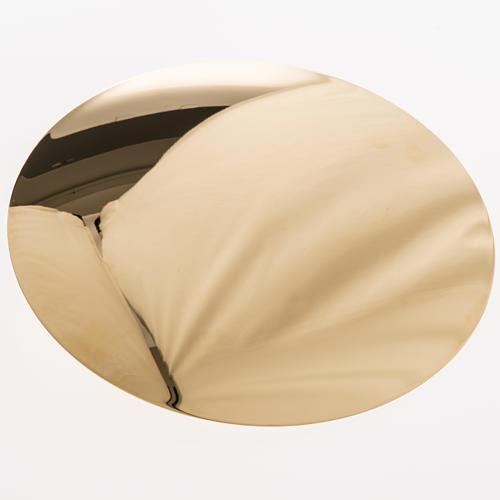 Paten in golden brass, smooth 15 cm 3