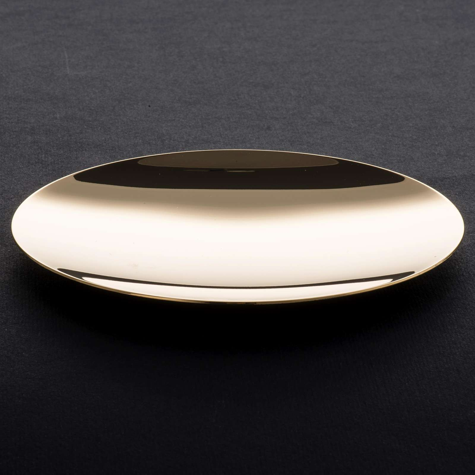 Paten in golden brass, smooth 15 cm 4