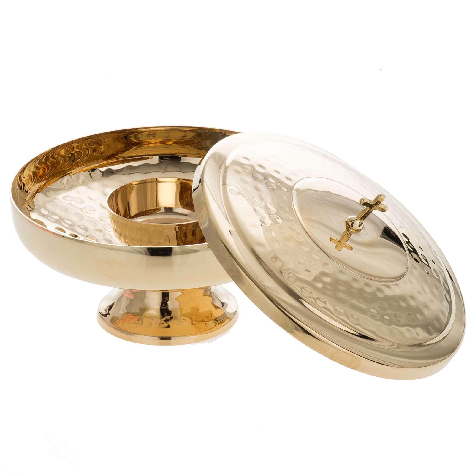 Ziborium zwei Gestalten gehämmertes vergoldetes Messing 4