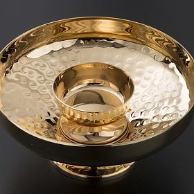 Ziborium zwei Gestalten gehämmertes vergoldetes Messing s4