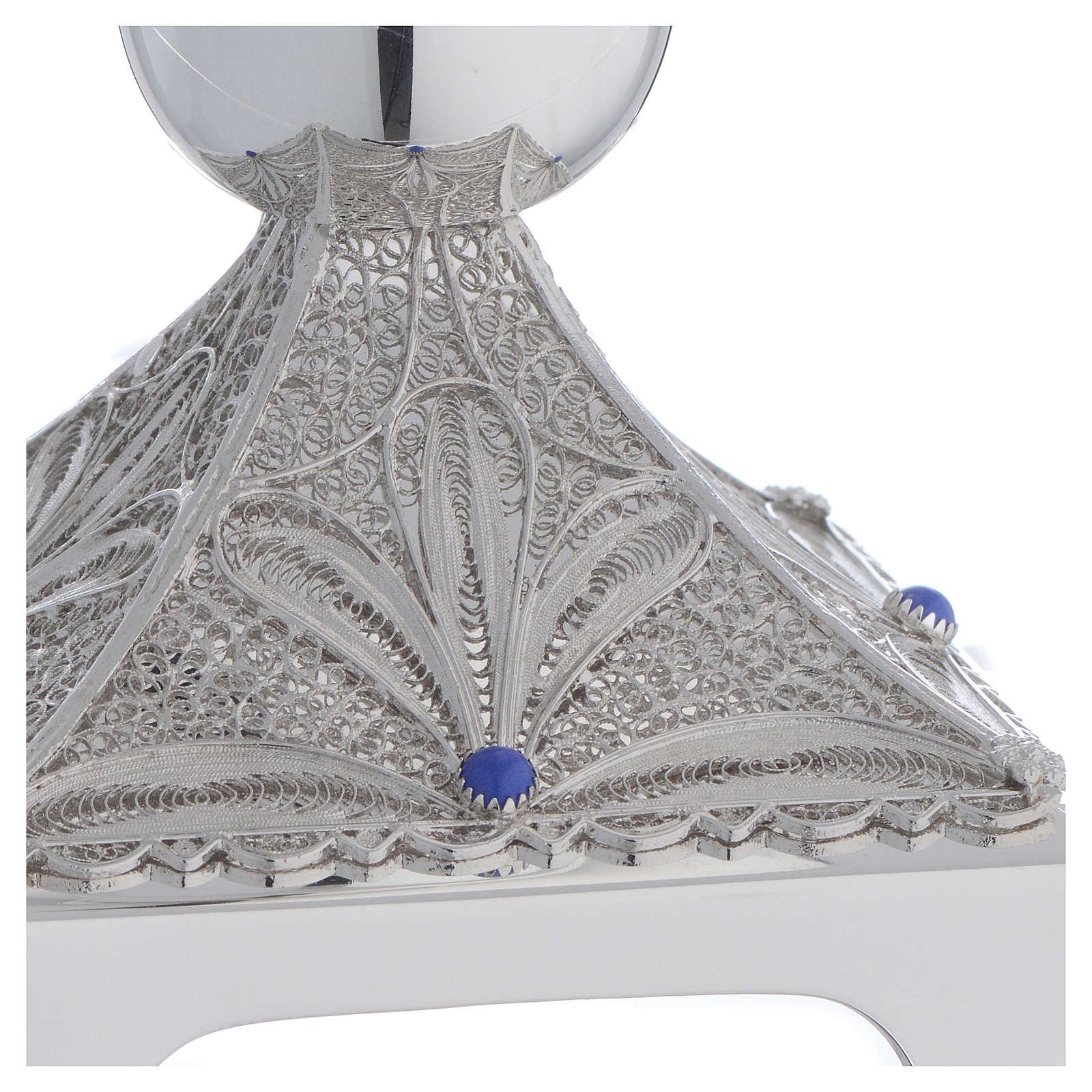Chalice in Silver 800 filigree, square base and lapis lazuli 4
