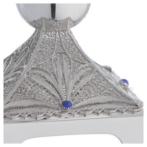 Chalice in Silver 800 filigree, square base and lapis lazuli 2