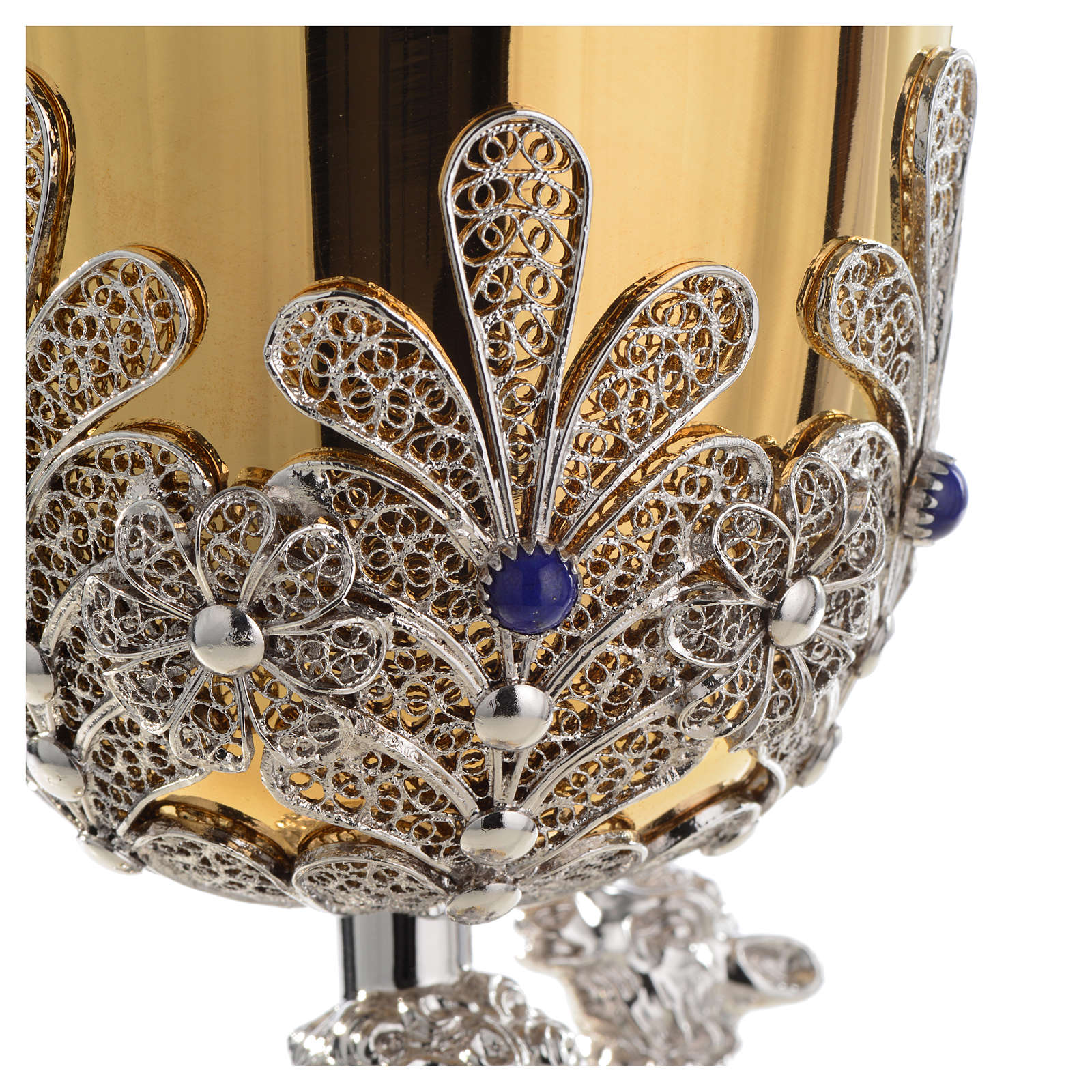 Chalice in Silver 800 filigree with lapis lazuli, Good Shepherd 4