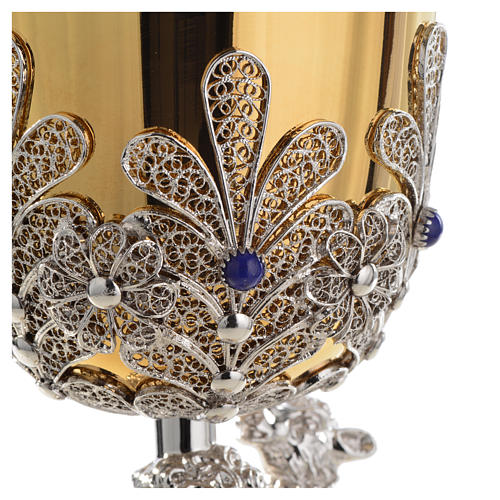 Chalice in Silver 800 filigree with lapis lazuli, Good Shepherd 14