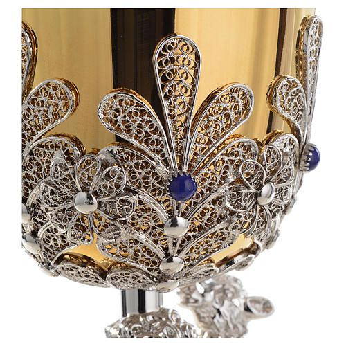 Chalice in Silver 800 filigree with lapis lazuli, Good Shepherd 5
