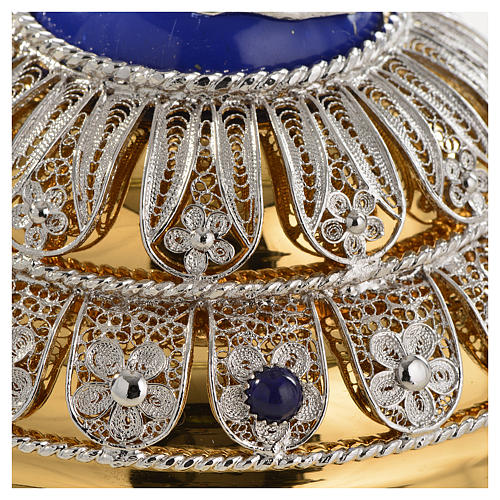 Chalice in Silver 800 filigree with lapis lazuli, Good Shepherd 8