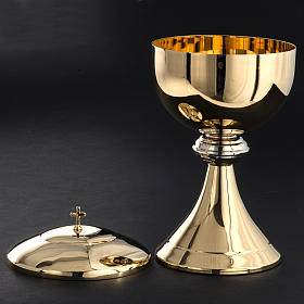 Ciborium in golden brass with striped silver plated node s4