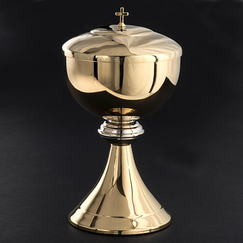 Ciborium in golden brass with striped silver plated node 3