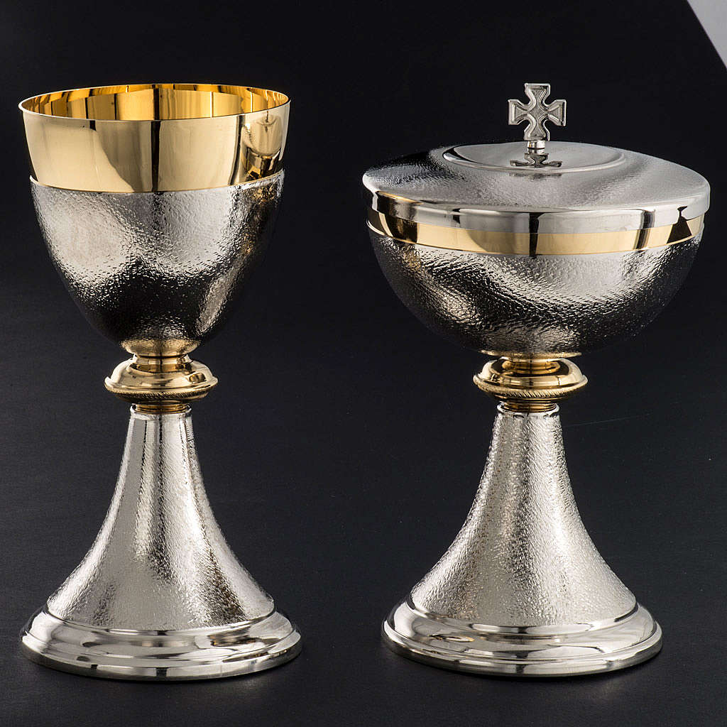 Chalice and Ciborium, silver plated brass with knurled finishing 4