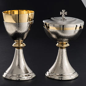 Chalice and Ciborium, silver plated brass with knurled finishing s2