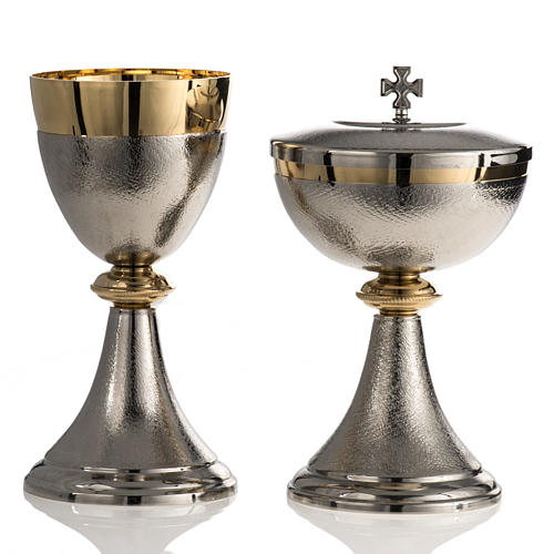 Chalice and Ciborium, silver plated brass with knurled finishing 1