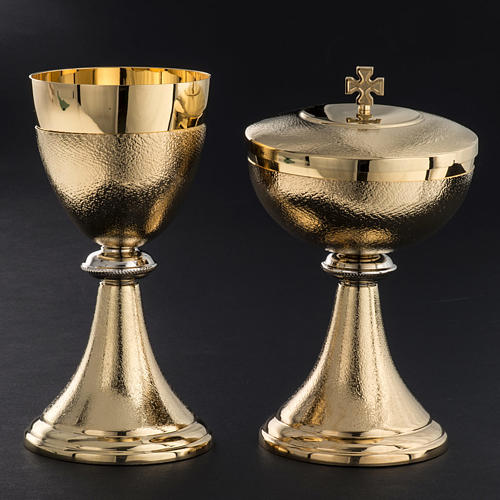 Chalice and Ciborium, golden brass with knurled finishing 2