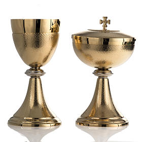 Chalice and Ciborium, golden brass with knurled finishing s1