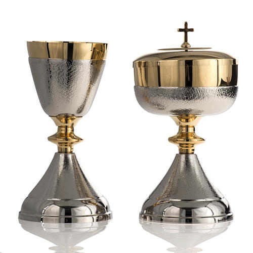 Chalice and Ciborium in silver brass, Knurled finishing 1