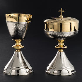 Chalice and Ciborium in silver brass, Knurled finishing s4