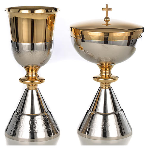 Chalice and Ciborium, golden and silver decoration, knurled 1