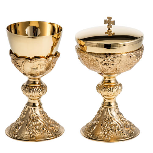 Chalice and Ciborium with golden finish, The Last Supper 1