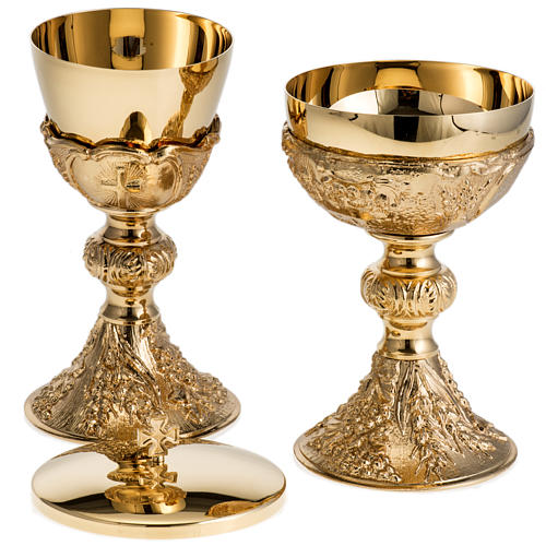 Chalice and Ciborium with golden finish, The Last Supper 10