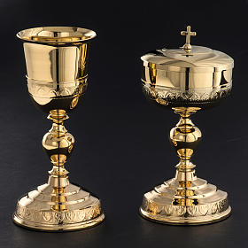 Chalice and Ciborium in golden brass, leaves decoration s2