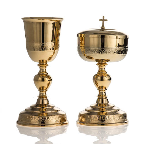 Chalice and Ciborium in golden brass, leaves decoration 1