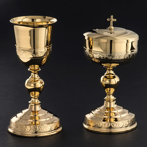 Chalice and Ciborium in golden brass, leaves decoration 2