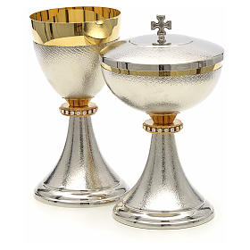 Chalice and Ciborium, knurled two tone finishing with strass s2