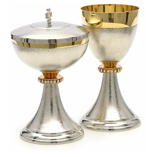 Chalice and Ciborium, knurled two tone finishing with strass 7
