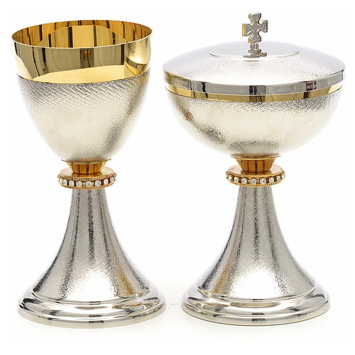 Chalice and Ciborium, knurled two tone finishing with strass 1