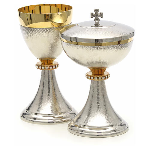 Chalice and Ciborium, knurled two tone finishing with strass 2