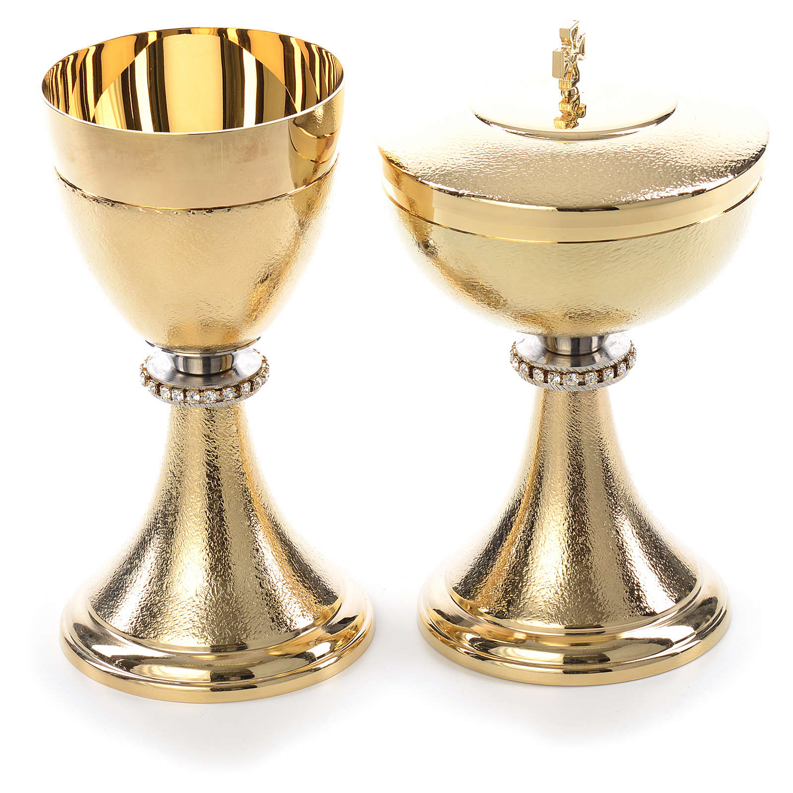 Chalice and Ciborium, knurled finishing with strass 4