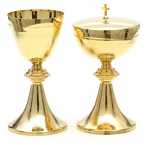 Chalice and Ciborium in golden brass, Classic style, Knurled 1