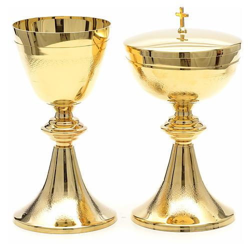 Kielich i puszka klasyczne złocone moletowane 1