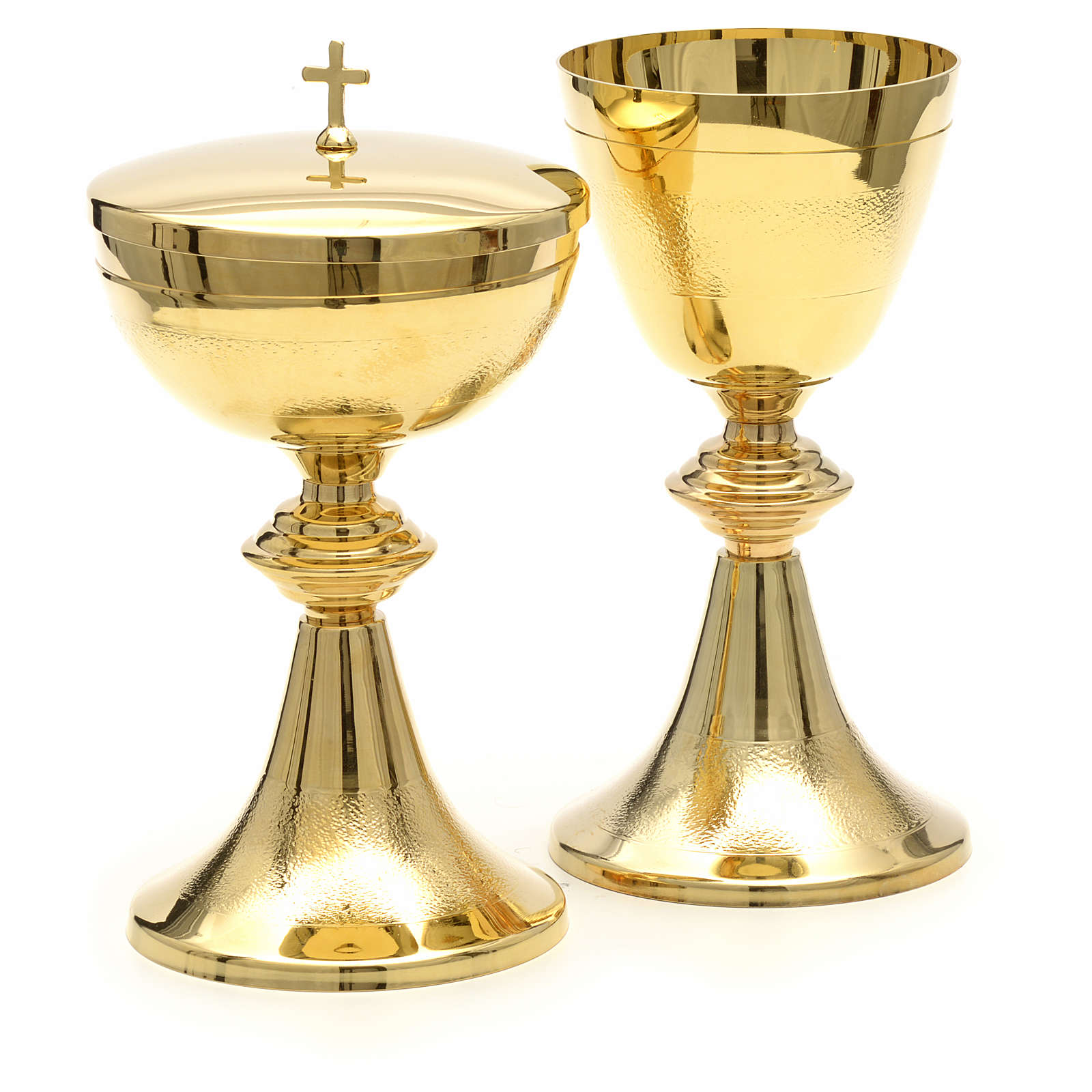Chalice and Ciborium in golden brass, Classic style, Knurled 4
