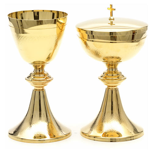 Chalice and Ciborium in golden brass, Classic style, Knurled 5
