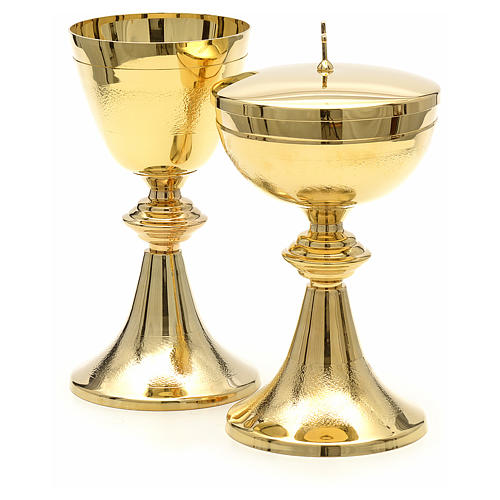 Chalice and Ciborium in golden brass, Classic style, Knurled 2
