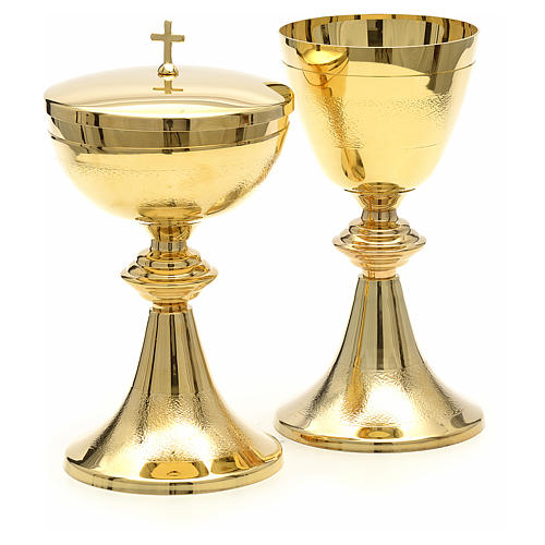 Chalice and Ciborium in golden brass, Classic style, Knurled 3