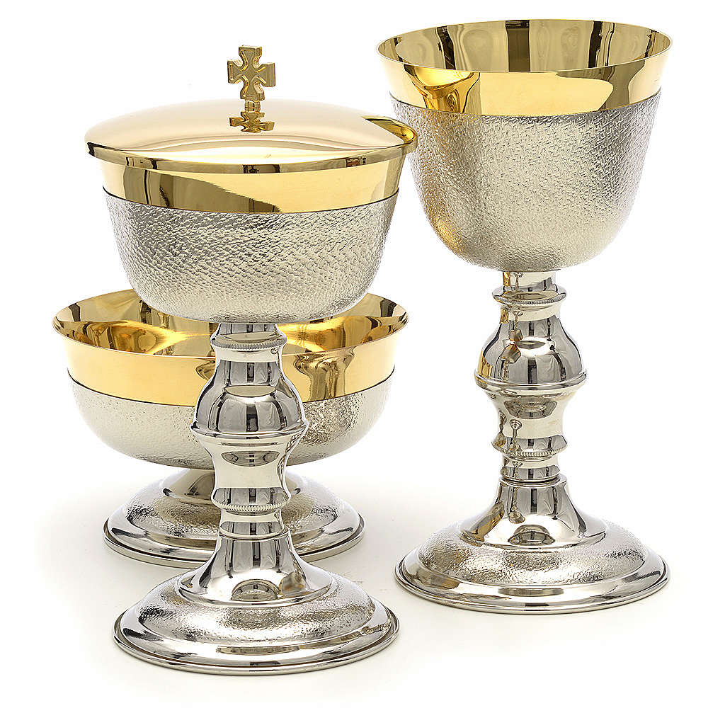 Chalice, ciborium and bowl with knurled finish 4