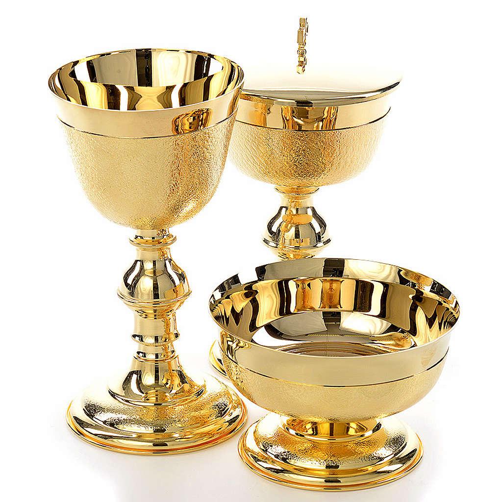 Kelch Ziborium und Hostienschale aufgerauten goldenen Messing 4