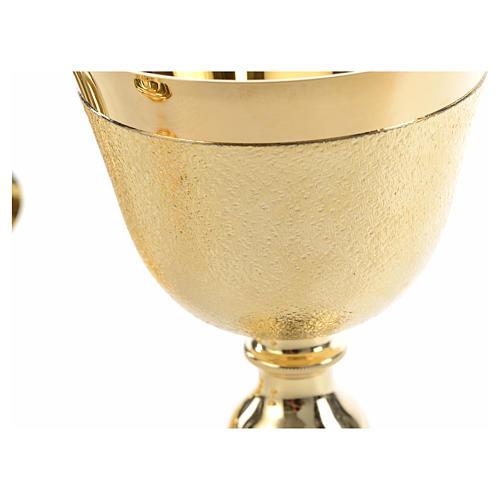 Kelch Ziborium und Hostienschale aufgerauten goldenen Messing 16