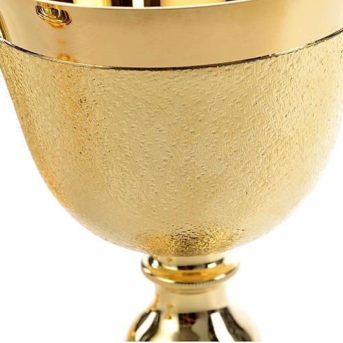 Kelch Ziborium und Hostienschale aufgerauten goldenen Messing 8