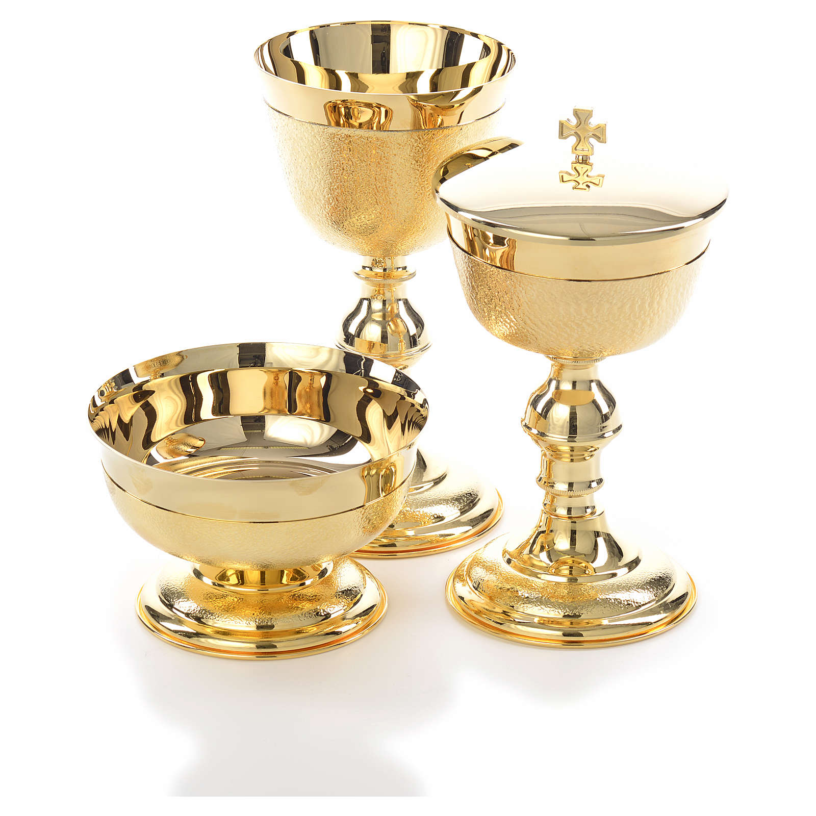 Chalice, ciborium and bowl with knurled gold plated finish 4