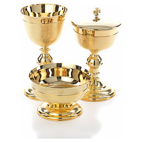 Chalice, ciborium and bowl with knurled gold plated finish s9