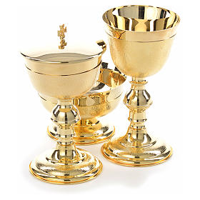 Chalice, ciborium and bowl with knurled gold plated finish s11